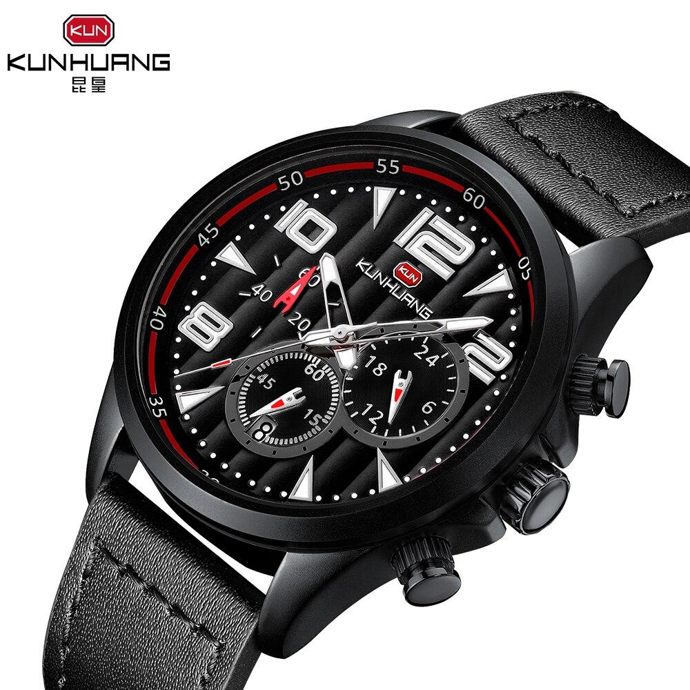KUNHUANG Luxury Brand Black Leather Watch Chronograph Watches Quartz Wristwatch Business Calendar Clock Horloge Heren
