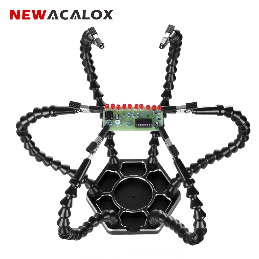 NEWACALOX Soldering Iron Holder with 6pcs Helping Hands Flashlight 3X LED Magnifier Soldering Third Hand PCB Welding Tools