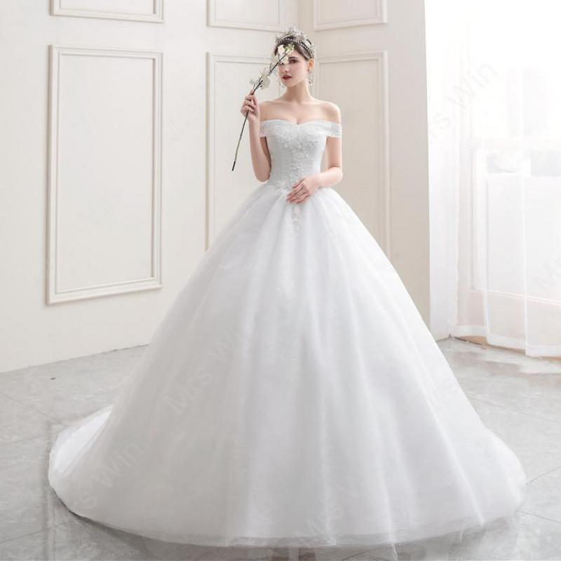 Mrs Win 2020 New Light Wedding Dress Off The Shoulder Boat Neck Ball Gown Wedding Dress With Long Train  Bride Dress Plus Size