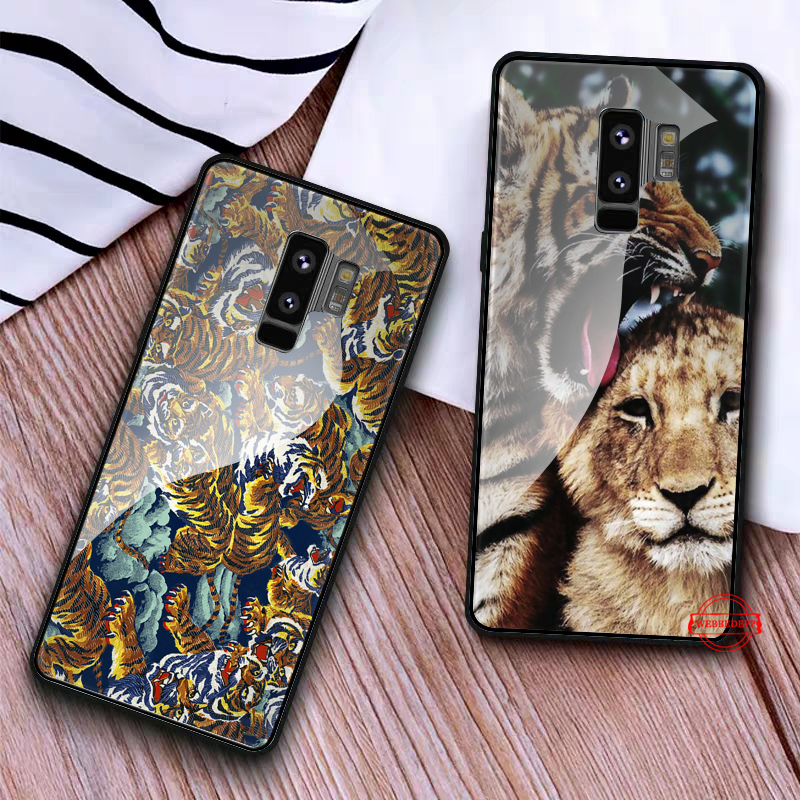 WEBBEDEPP lion tiger Glass Case for Samsung S7 Edge S8 S9 S10 Plus A10 A20 A30 A40 A50 A60 A70 in Fitted Cases from Cellphones Telecommunications