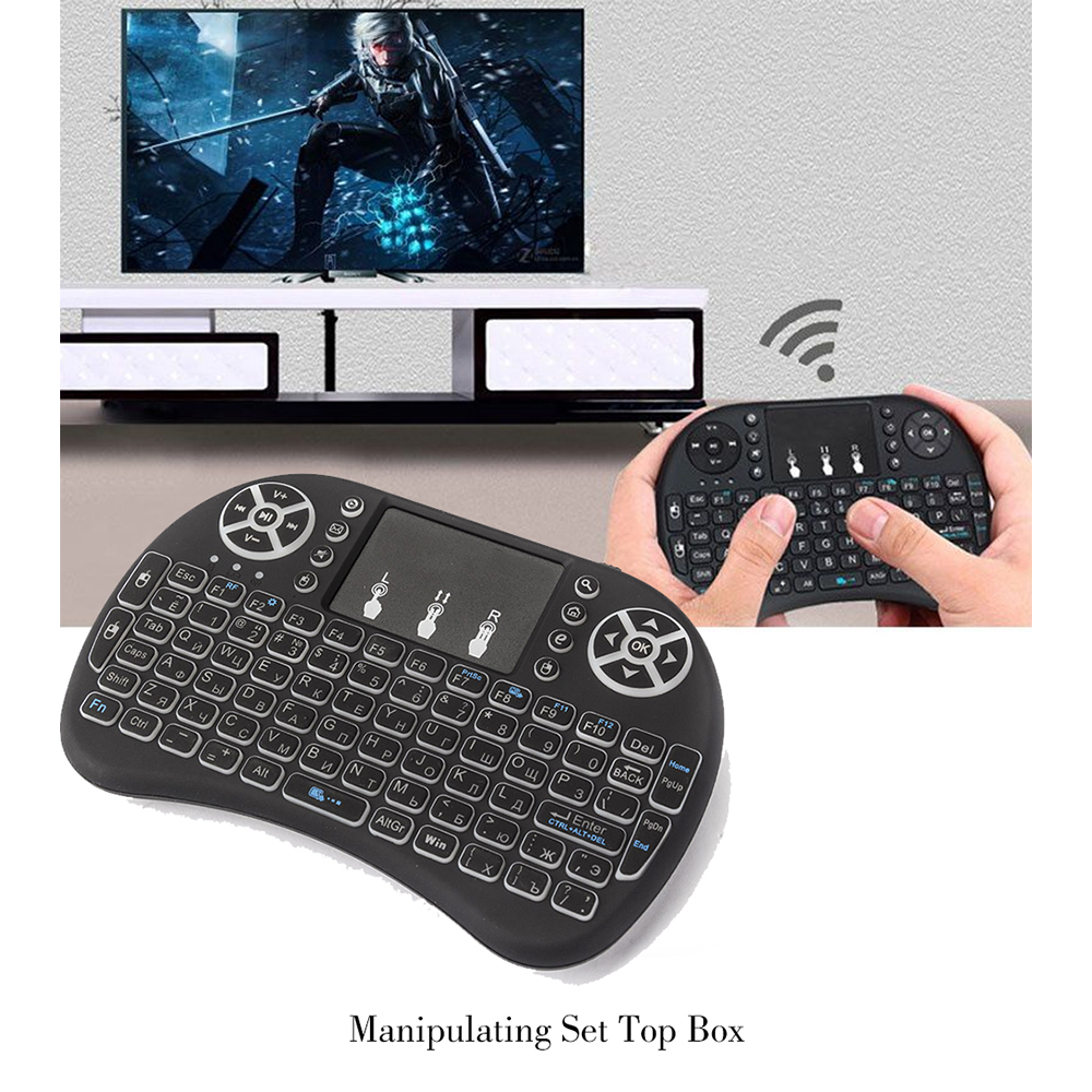 Image 5 - 3 color backlit i8 Mini Wireless Keyboard 2.4ghz English Russian 3 color Air Mouse with Touchpad Remote control Android TV Box-in Keyboards from Computer & Office
