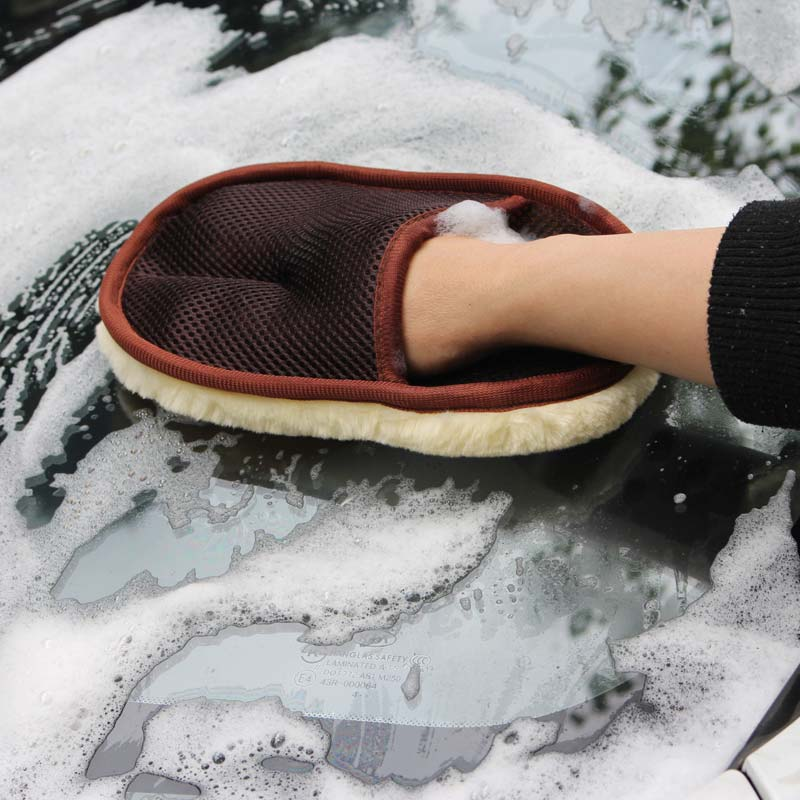 1pc Wool Car Washing Gloves Wipe A Car Wax Gloves Cleaning Polishing Car Supplies