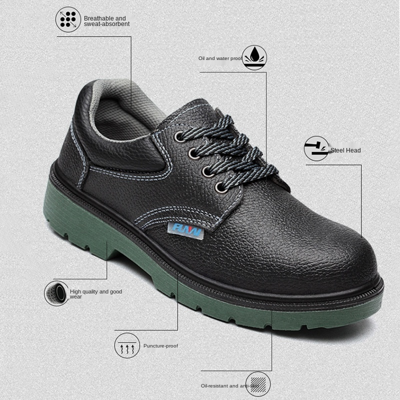 FANAN Work Safety Shoes Men Anti-slippery Work Boots Steel Toe Anti-smashing Genuine Leather Safety Boots Free shipping