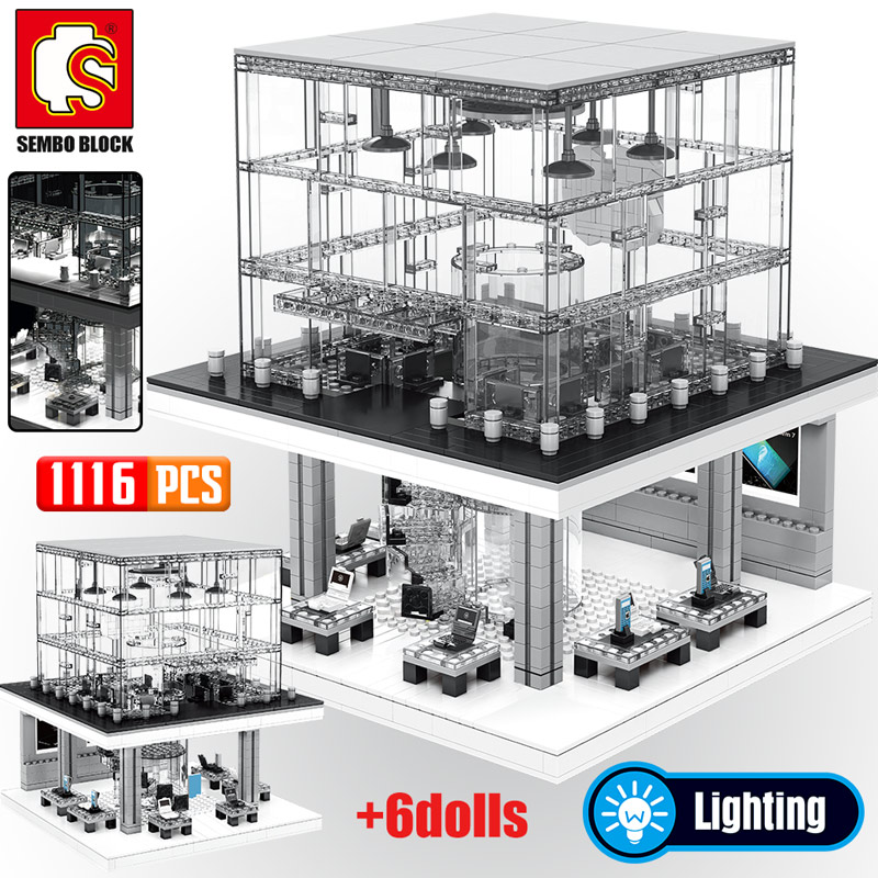 SEMBO Creator Series Apple Store Model Building Blocks City Street View LED Light Figures Bricks Classic Phone Kids Toy