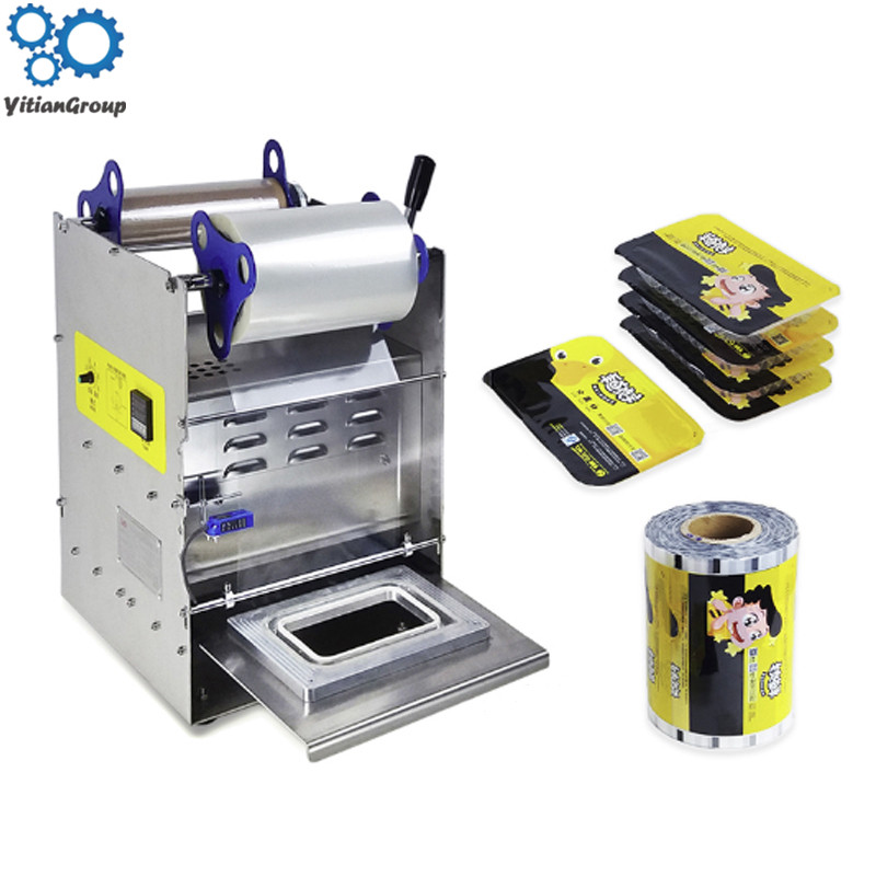 1PC Cooked Food Preservation Box Sealing Machine 220V Lunch Box Packing Machine Semi-automatic Fast Food Product Sealing Machine