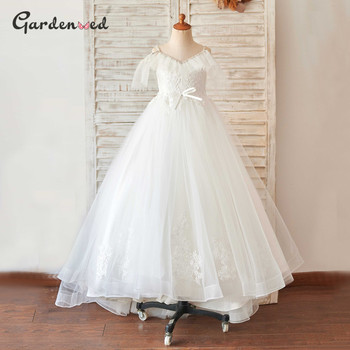 Kids Aline Lace Appliques Baby Communion Dress Girl Tulle Scoop Party Dress Girl Tulle Cap Sleeves Flower Girl Dress Ball Gown new baby princess flower girl dress lace appliques wedding prom ball gown pink birthday communion toddler kids tutu dress