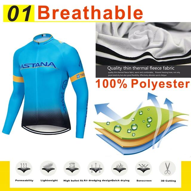 Astana conjunto camisa de ciclismo pro equipe manga longa roupas dos homens inverno ciclismo roupas lã térmica ropa hombre quente 2