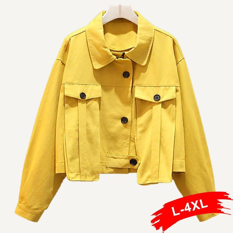 Women Plus Size Yellow Bomber Coat Button Design Big Pockets Zippers 3XL 4XL Autumn Chi Streetwear Tops Short   Basic     Jackets