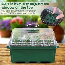 12 buraco plástico berçário potes plantio semente bandeja kit células bandeja de semente crescer caixa plântula starter kit germinação jardim crescer caixa