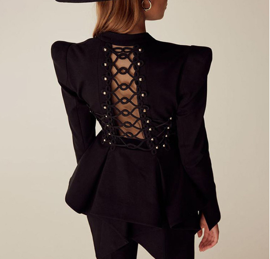 European And American Fashion Minority Hollow Slim Slimming Swallowtail  Goth Punk Back Hollow Cross Strap Suit Jacket Female