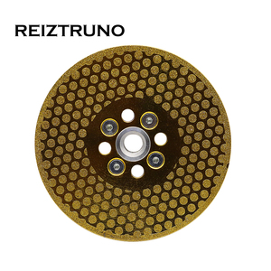 """Image 1 - REIZTRUNO 5"""" Double Sided Marble Diamond Blade with Quad Adapter Electroplated continuous Turbo Blade for cutting shaping marble"""