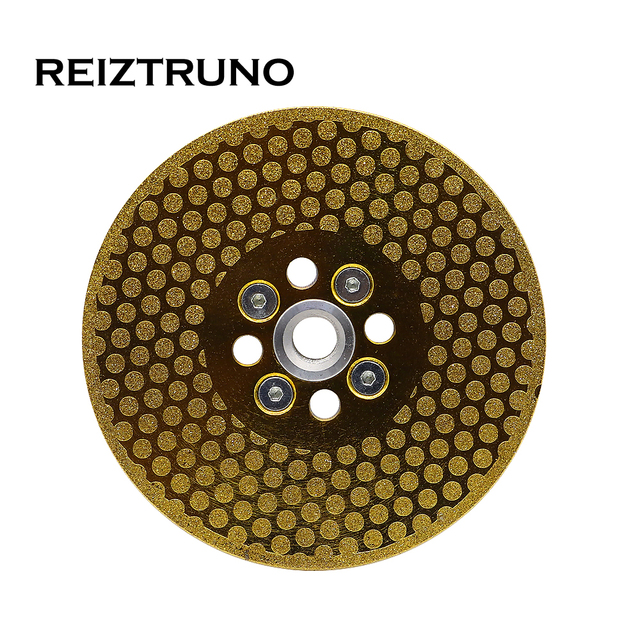 """REIZTRUNO 5"""" Double Sided Marble Diamond Blade with Quad Adapter Electroplated continuous Turbo Blade for cutting shaping marble"""