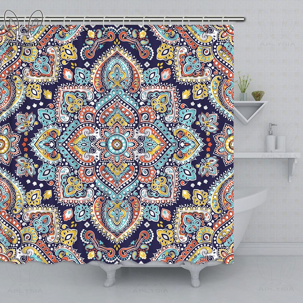 Details about  /Mandala Shower Curtain Arabic Culture Flowers Print for Bathroom