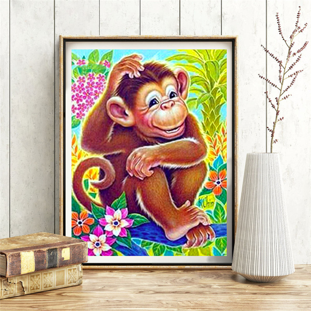 HUACAN DIY Diamond Embroidery 5D Monkey Diamond Painting Cross Stitch Animal Picture Handcraft Mosaic Home Decoration