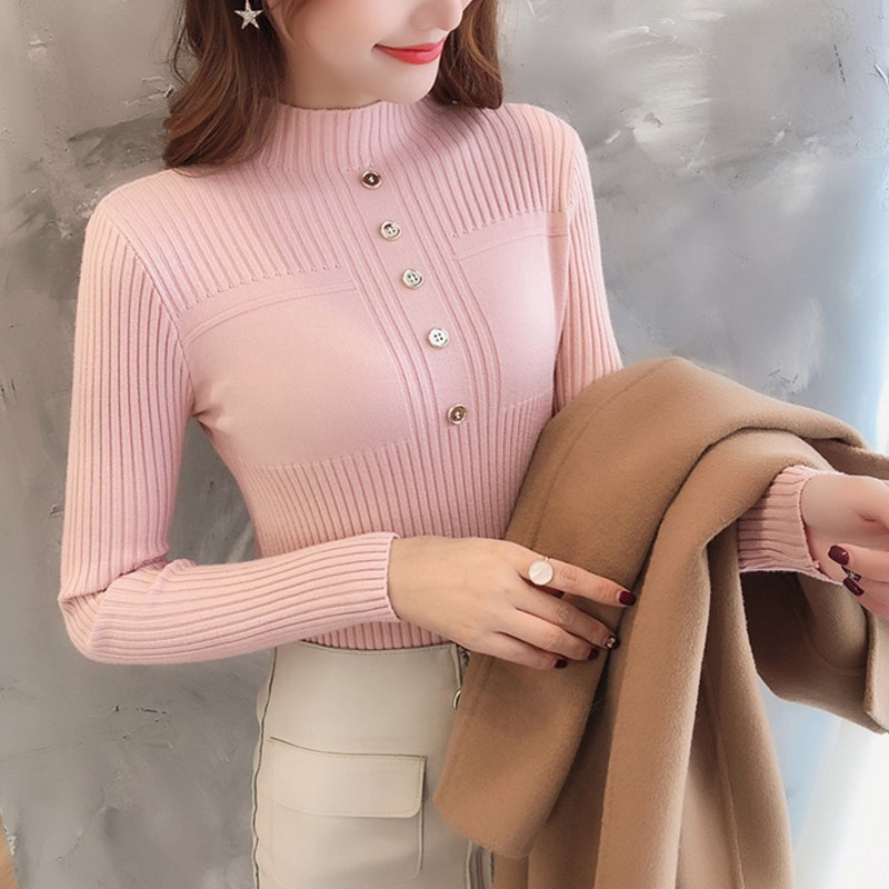 Women Chic Turtleneck Sweaters Solid Color Black Elegant Korean Style Classical Knitting Casual Jumper Pull Femme