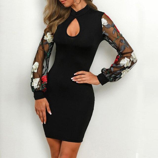 Sheer Wrap Work Dress Women Vestidos Sexy Long Sleeve Stripe Mesh Patchwork Bodycon Dress Black Tunic Clothing For Work 2