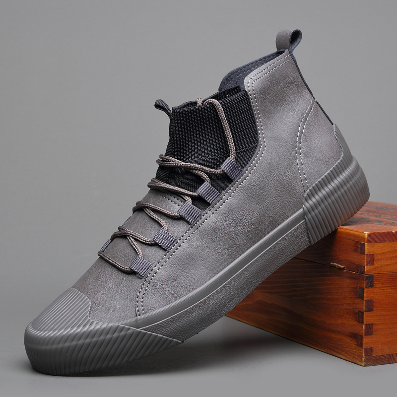 New Hot sale fashion male casual shoes high top lace up Men s leather casual Sneakers