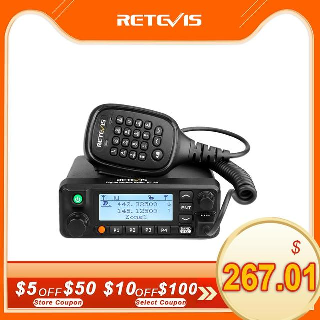 Retevis RT90 DMR דיגיטלי נייד רדיו שני בדרך רדיו ווקי טוקי 50W VHF UHF Dual Band חם חובב רדיו משדר + כבל