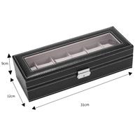 6 Slot Leather Watch Box Display Case Glass Jewelry Storage Black Mens Watch Display Holder Cases Black Jewelry Gift Boxes Case