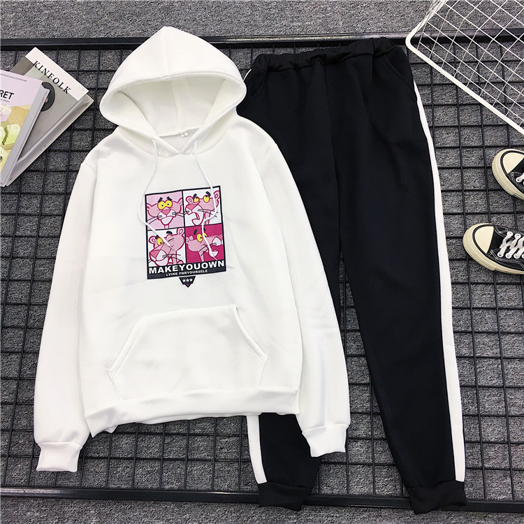 Soft Fit Cartoon Pink Panther Printed  2 Piece Sets Woman Hoodies Kawaii Sweatshirt +Pants Suits 2019 Tracksuits Clothes New