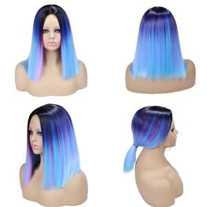 Image 3 - Женский короткий парик из синтетических волос FAVE Ombre, синий, фиолетовый, Радужный цвет, прямые волосы средней длины, Термостойкое волокно для косплея