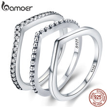 BAMOER 100% 925 Sterling Silver Water Droplet Clear CZ Finger Rings for Women Wedding Engagement Jewelry Girlfriend Gift PA7649(China)