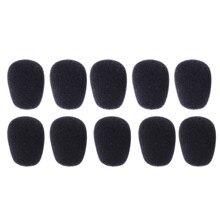 10 pçs preto 30x8mm pequeno microfone capa esponja espuma mini microfone fone de ouvido brisas mic cobre