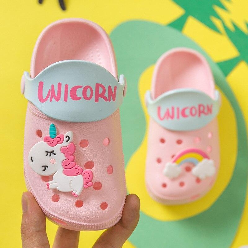 New 2020 Summer Boys Girls Beach Slippers Kids Unicorn Cartoon EVA Pink Blue Color Unicorn Baby Cave Garden Sandals 14cm--21cm