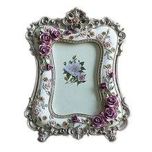 Горячая 6 дюймов Роза из полимерной смолы Свадебная фоторамка подарок Ремесла рабочего украшения Рамка для картин