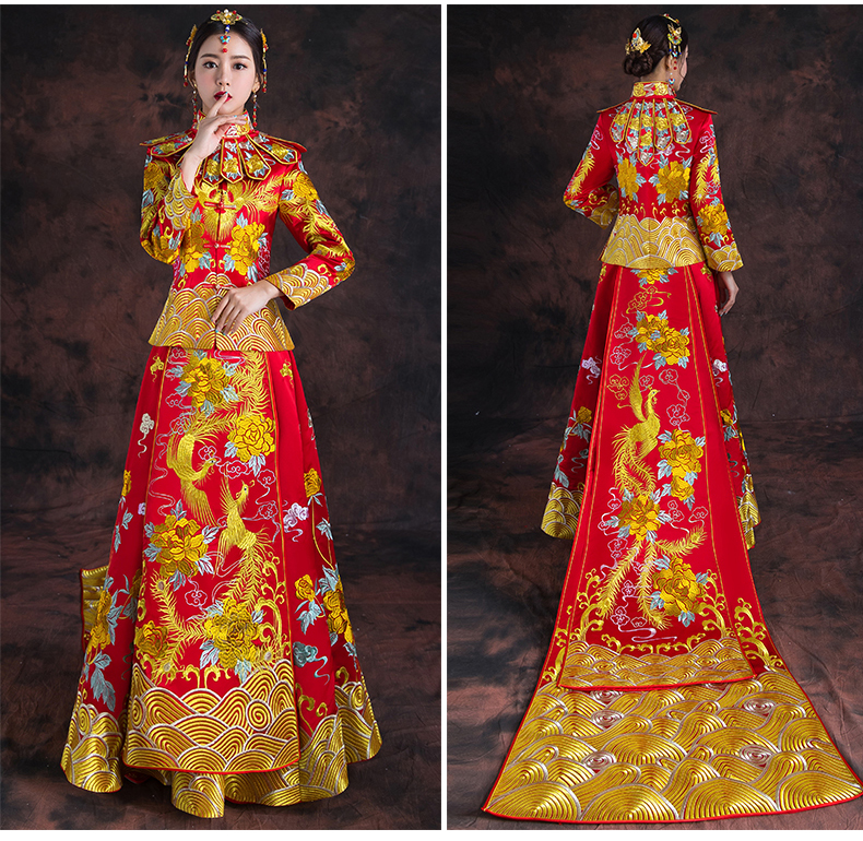 Royal Phoenix Wedding Cheongsam Costume Vintage Chinese Style Formal Dress Red Bride Traditional Tang Suit Embroidery Qipao
