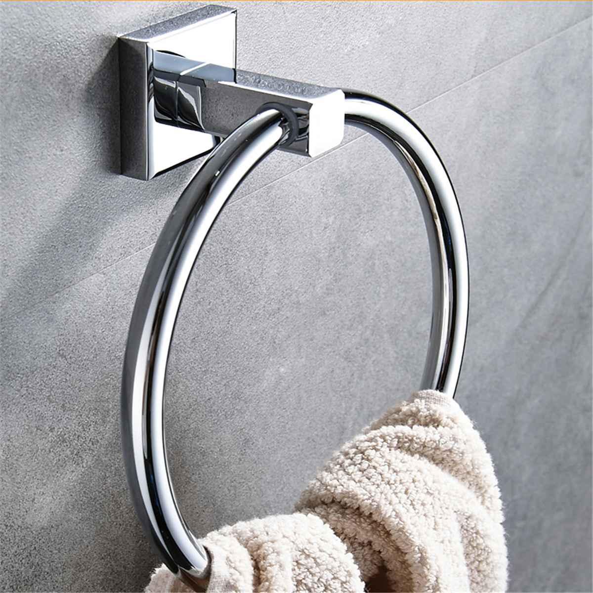 Stainless Steel Towel Ring Round Hanger Towel Holder Rack Wall-Mounted Hanging Towel Bar Bathroom Hardware Fixture Accessories
