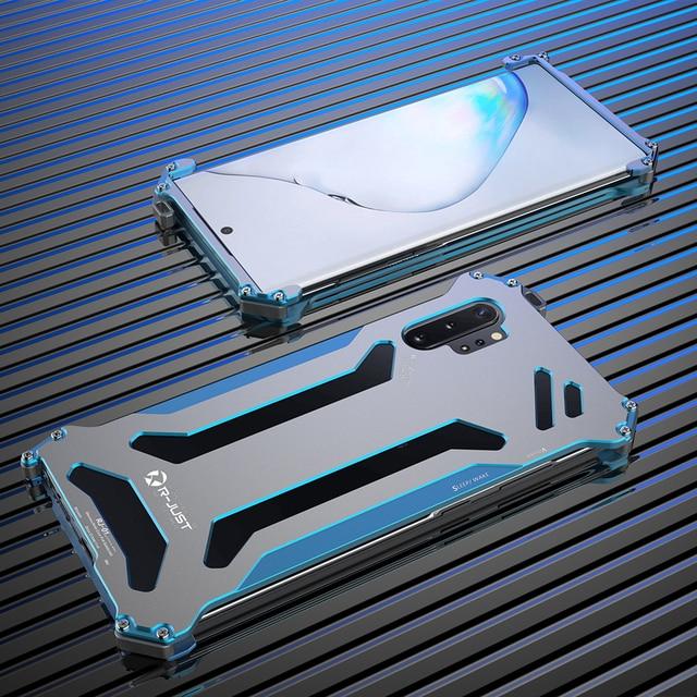 R JUST 삼성 갤럭시 노트 10 플러스 노트 10 5g 안티 노크 shockproof 금속 프레임 뒤 표지에 대 한 cnc 항공기 알루미늄 범퍼 케이스