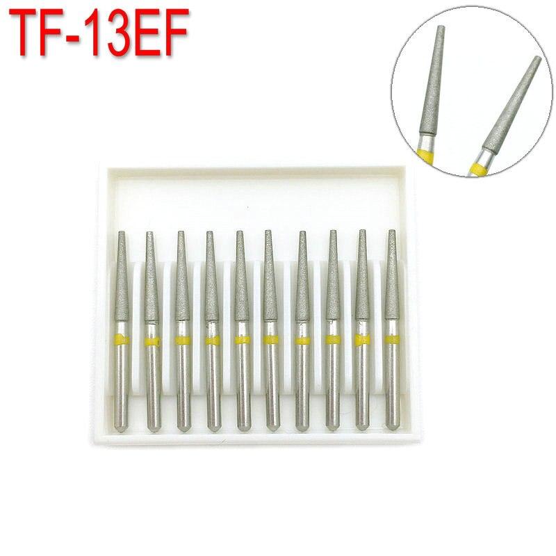 10pcs Dental Diamond Burs Drill Dentistry Burs For High Speed Handpiece Extra Fine FG 1.6mm TF-13EF