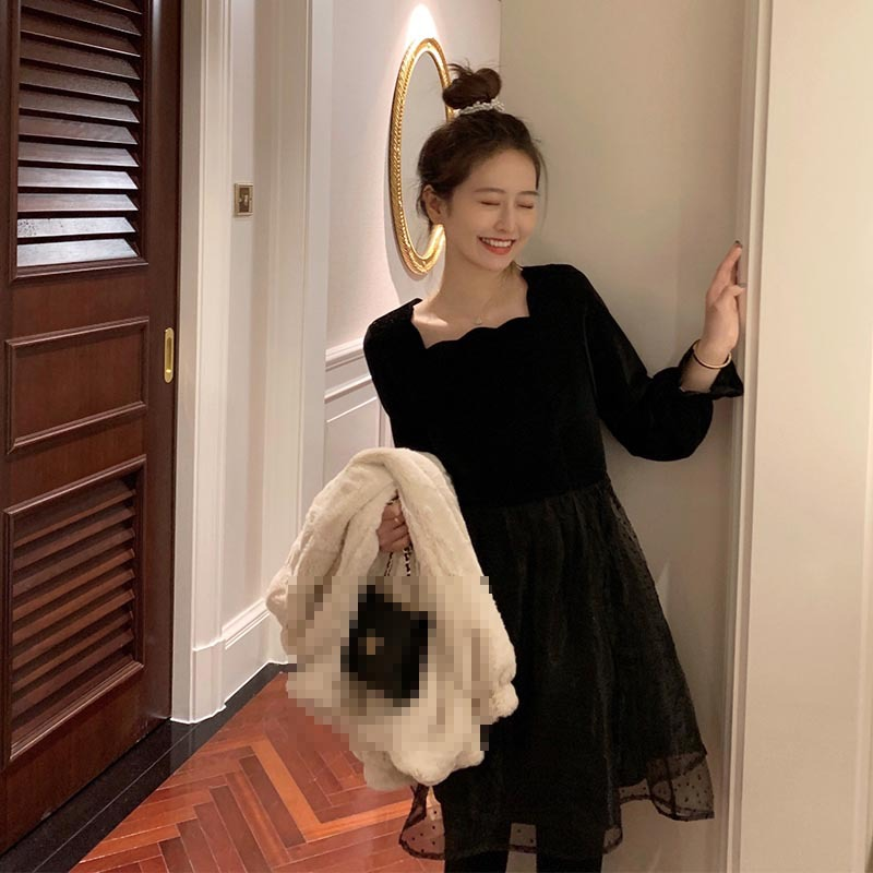Meet 2020 Spring Annual General Meeting C Bit Velvet Dress Women's Winter Mid-length Sweet Little Princess Skirt
