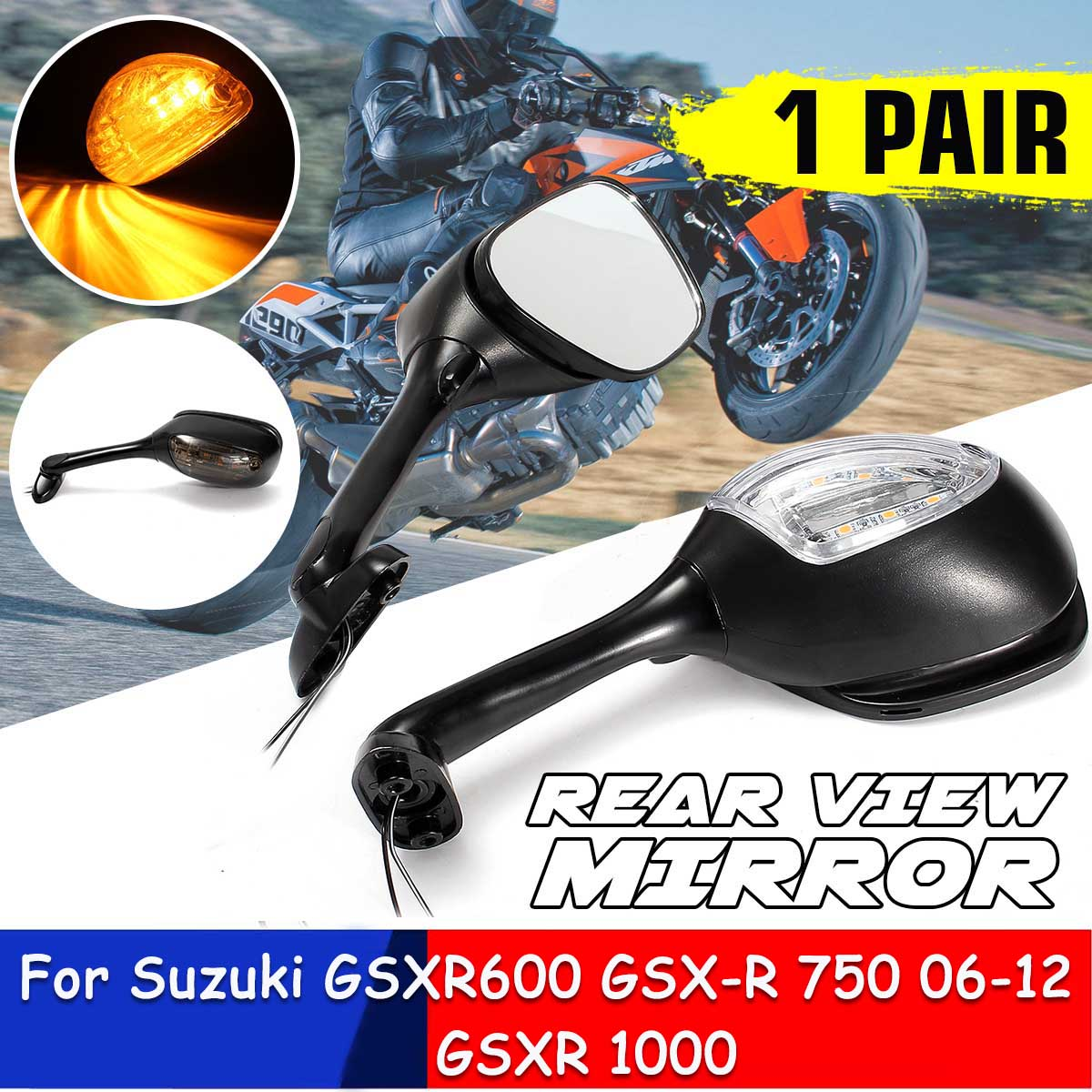 2pcs Motorcycle <font><b>LED</b></font> Turn Signal Rear View Mirrors For <font><b>Suzuki</b></font> <font><b>GSXR</b></font> 600 <font><b>750</b></font> 2006 2007 2008 2009 2010 <font><b>GSXR</b></font> 1000 2005 2006 2007 2008 image