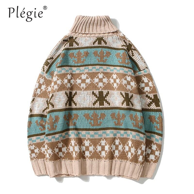 Plegie Turtleneck Sweaters Mens Pullover Sweaters Advanced Hip Hop Color Block Knitted Autumn Winter Unisex Oversize Streetwear