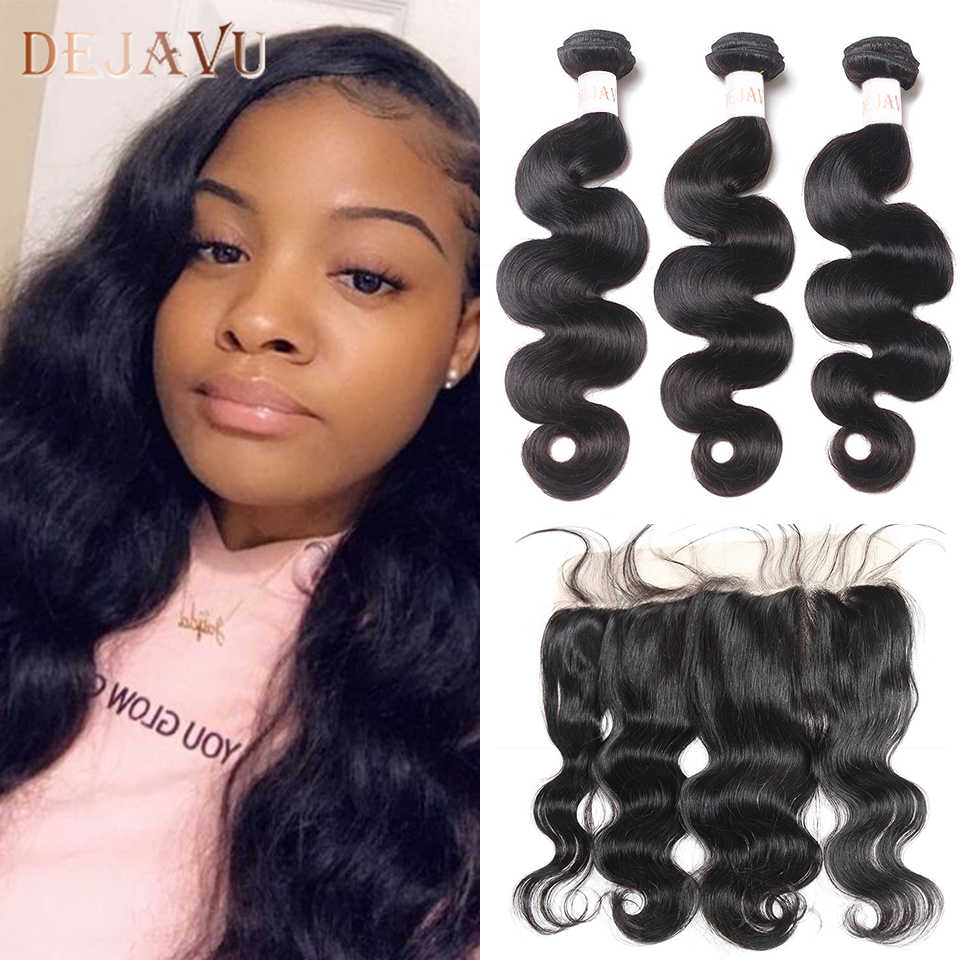 Dejavu 바디 웨이브 번들 (Closure With Closure) 브라질 헤어 번들 (Frontal Human Hair Frontal With Bundle Non-Remy Hair Extension)
