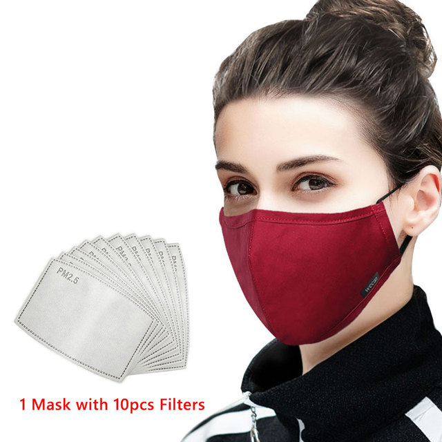 Wecan Cotton Reusable Mouth Face Mask Anti PM2.5 Dust Mask Mascaras With 10pcs Activated Carbon Filter Korean Black Fabric Masks 1
