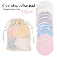 Reutilizable de fibra de bambú de removedor de maquillaje de almohadillas 12 unids/pack lavable rondas limpieza algodón Facial que eliminación de herramienta