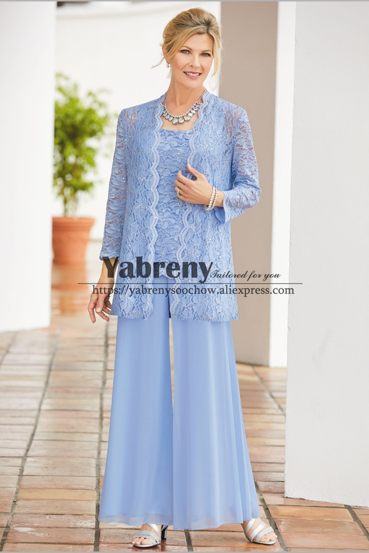 Sky Blue Mother Of The Bride Pant Suit 3PC Trousers Outfit  Custom Plus Size