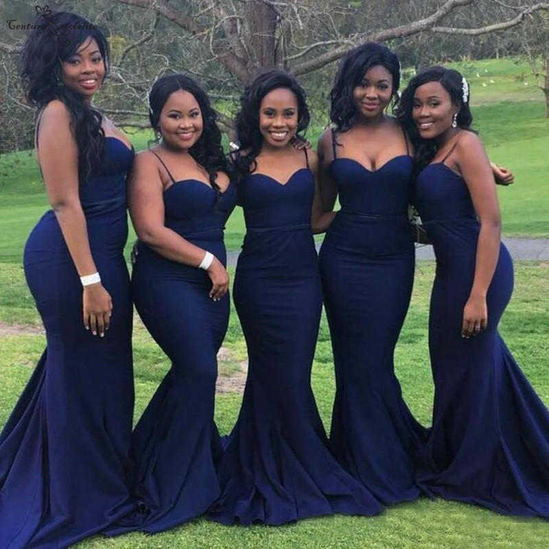 Navy Blue Mermaid   Bridesmaid     Dresses   2019 Sexy Spaghetti Straps Zipper Back Long Maid Of Honor   Dress   Prom Party Gowns Cheap