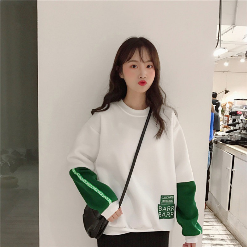 Casual Sweatshirt Women Autumn New Fashion Trend Letter Print Round Neck Long-sleeved Patchwork