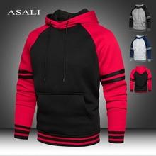 Strip Hooded Pullover Warm Fleece Hoodies Men Sweatshirt 2020 New Spring Autumn Solid Black Color Hip Hop Streetwear Man's Hoody