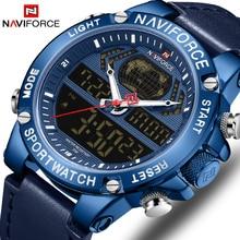 NAVIFORCE Mens Watches To Luxury Brand Men Leather Sports Watches Men's Quartz LED Digital Waterproof Military Wrist Watch Clock цена 2017