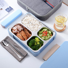 Stainless Steel Lunch Box 1250ml Leakproof Bento Box Microwavable Foond Container With Portable Bag Thermal Insulation stainless steel insulation teapot lunch box 1 9l vacuum anti overflow with insulation bag long lasting insulation