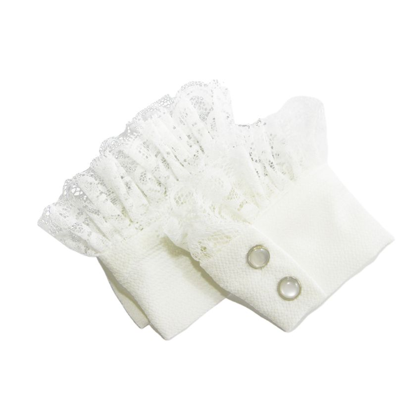 1Pair Women Sweater Decor Chiffon Fake Sleeves Floral Lace Pleated False Cuffs H37C