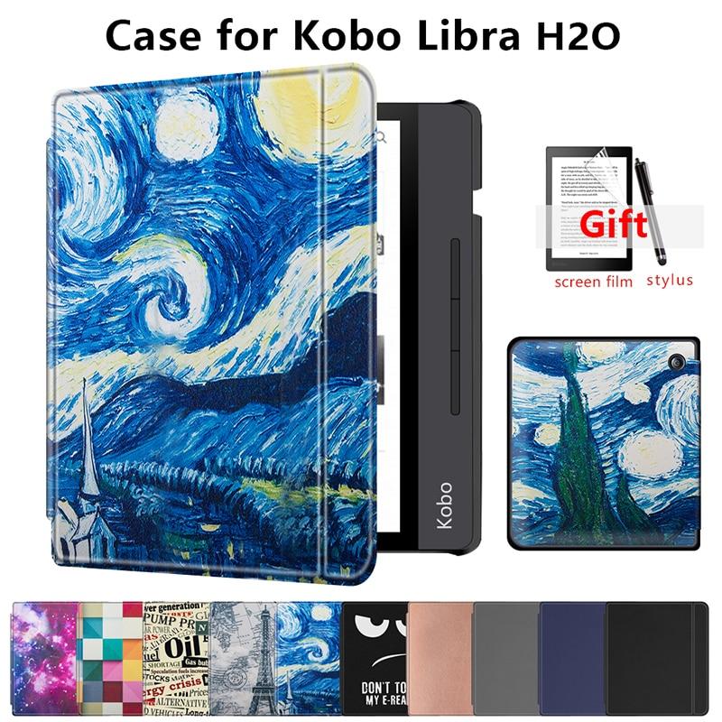Magnetic Case For New Kobo Libra H2O 7'' Inch E-book 2019 Slim Protective Cover Case For Kobo E-reader N873 Smart Stand Skin