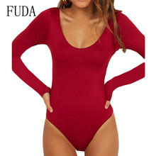 FUDA Rompers Long Sleeve Women Bodysuits Autumn Female Sexy Hollow Out New Fashion Playsuits Skinny Bandage Jumpsuits