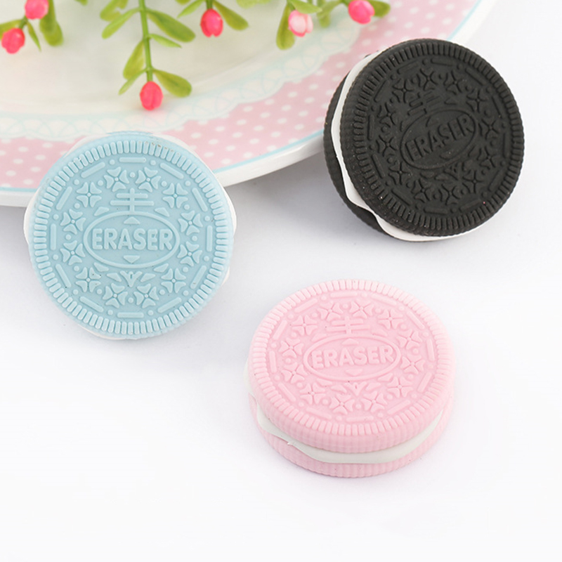 1PC New Hot Cute Eraser Chocolate Cake Sandwich Biscuit Cookie Modeling School Supplies Dessert Style Students Rubber