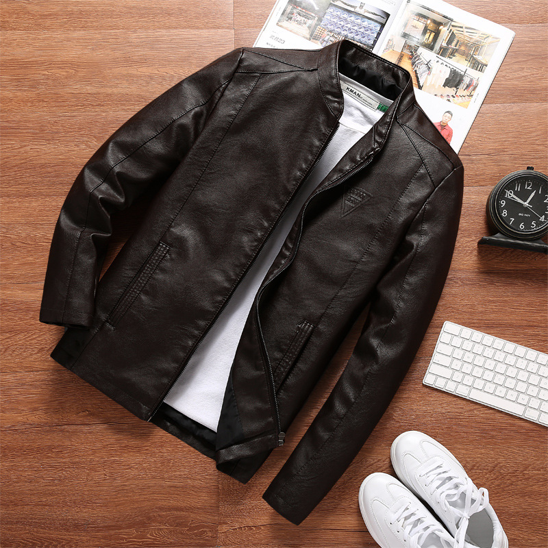 Autumn New Style Stand Collar Locomotive Men Plus-sized PU Leather Coat Slim Fit Leather Jacket Casual Men'S Wear Fashion